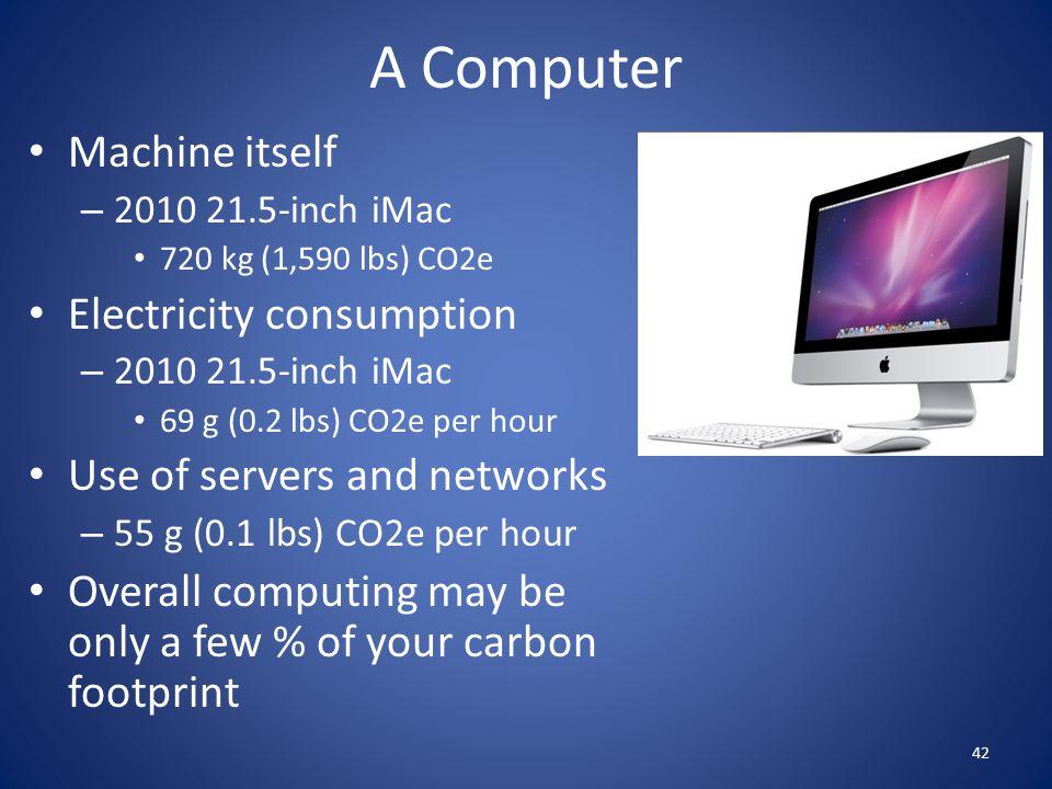 A Computer Machine itself – 2010 21.5-inch iMac 720 kg (1,590 lbs) CO2e Electricity consumption – 2010 21.5-inch iMac 69 g (0.2 lbs) CO2e per hour Use