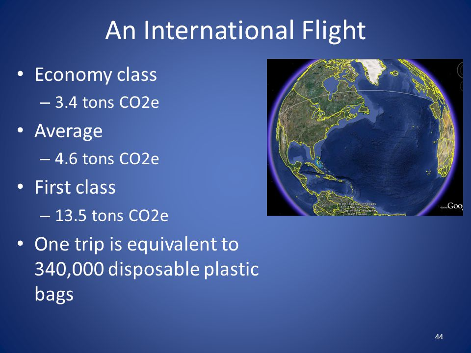 An International Flight Economy class – 3.4 tons CO2e Average – 4.6 tons CO2e First class – 13.5 tons CO2e One trip is equivalent to 340,000 disposabl