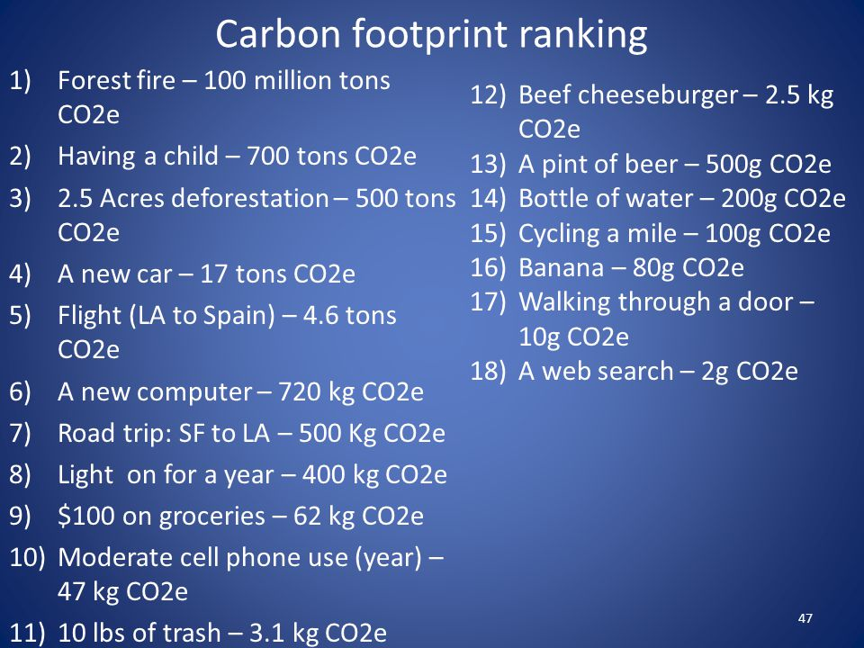 Carbon footprint ranking 1)Forest fire – 100 million tons CO2e 2)Having a child – 700 tons CO2e 3)2.5 Acres deforestation – 500 tons CO2e 4)A new car