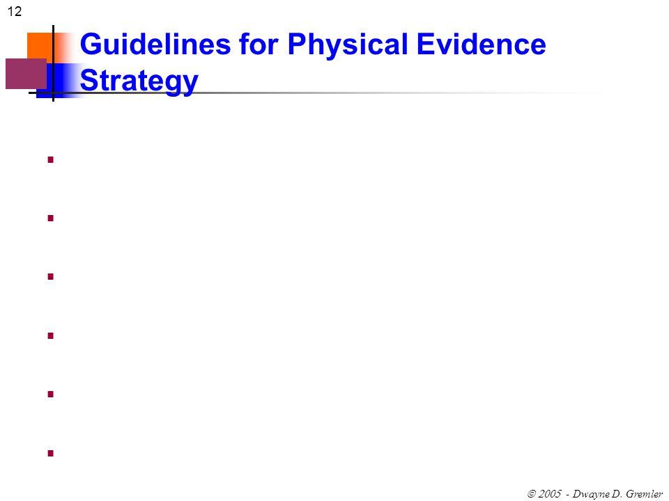 12 - Dwayne D. Gremler Guidelines for Physical Evidence Strategy