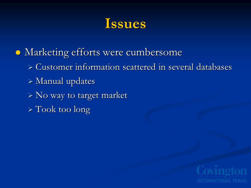 Issues Marketing efforts were cumbersome Marketing efforts were cumbersome Customer information scattered in several databases Customer information scattered in several databases Manual updates Manual updates No way to target market No way to target market Took too long Took too long