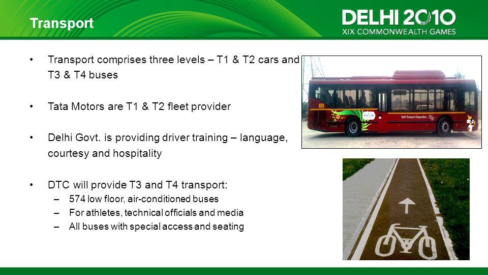 Transport Transport comprises three levels – T1 & T2 cars and T3 & T4 buses Tata Motors are T1 & T2 fleet provider Delhi Govt.