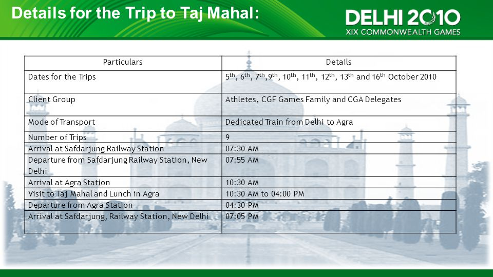 Details for the Trip to Taj Mahal: ParticularsDetails Dates for the Trips5 th, 6 th, 7 th,9 th, 10 th, 11 th, 12 th, 13 th and 16 th October 2010 Clie