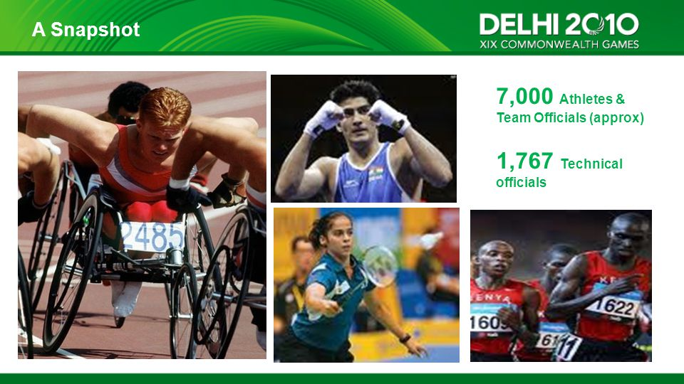 7,000 Athletes & Team Officials (approx) 1,767 Technical officials A Snapshot