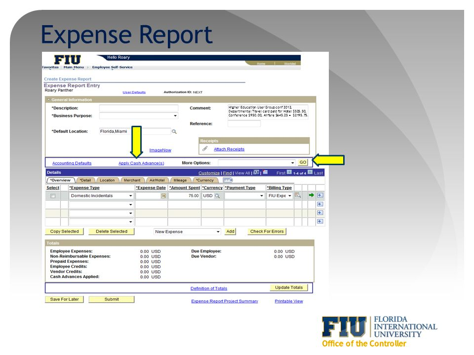 Expense Report Higher Education User Group conf 2012. Departmental Travel card paid for Hotel $525.50, Conference $950.00, Airfare $645.25 = $2195.75.