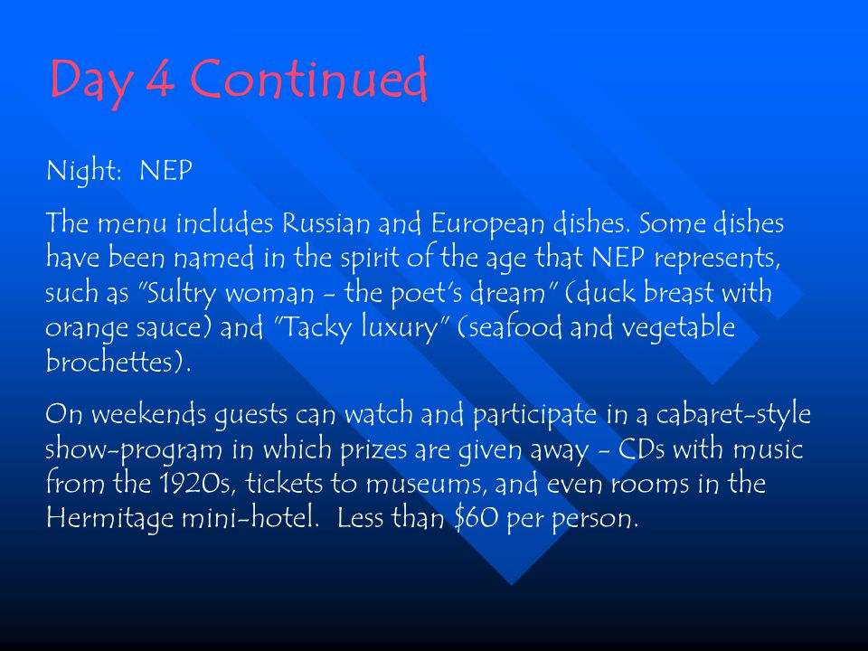 Night: NEP The menu includes Russian and European dishes.