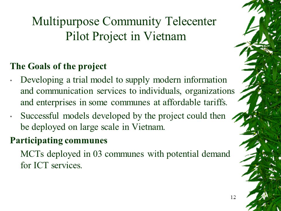 12 Multipurpose Community Telecenter Pilot Project in Vietnam The Goals of the project Developing a trial model to supply modern information and communication services to individuals, organizations and enterprises in some communes at affordable tariffs.