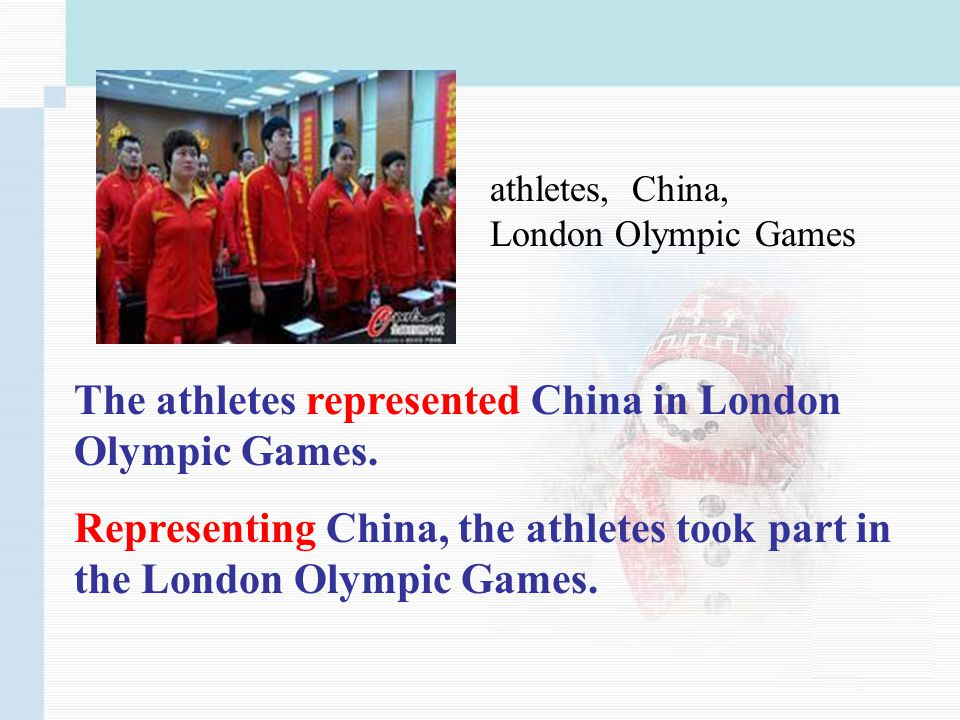 athletes, China, London Olympic Games The athletes represented China in London Olympic Games.