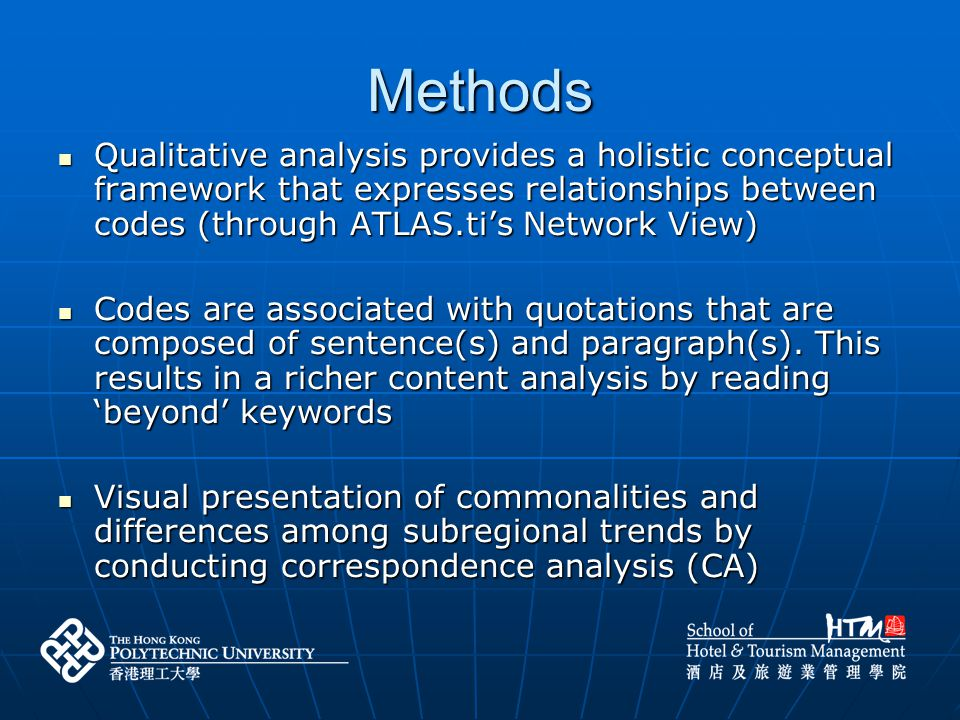 Methods Check trends that had been previously identified and used them as a basis to further identify other trends Check trends that had been previously identified and used them as a basis to further identify other trends UNWTO (2005) Tourism Highlights 2005 identified the following trends:UNWTO (2005) Tourism Highlights 2005 identified the following trends: (1) rapid development and growth of e-commerce and e-marketing, (1) rapid development and growth of e-commerce and e-marketing, (2) fast track travel – the facilitation and speeding up of the travel process, and (2) fast track travel – the facilitation and speeding up of the travel process, and (3) everyone is chasing Asian tourists (3) everyone is chasing Asian tourists Read the whole texts, created free quotations and coded them at the same time (Using ATLAS.ti) Read the whole texts, created free quotations and coded them at the same time (Using ATLAS.ti)