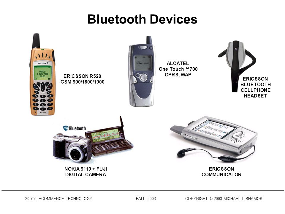 20-751 ECOMMERCE TECHNOLOGY FALL 2003 COPYRIGHT © 2003 MICHAEL I. SHAMOS Bluetooth Characteristics Operates in the 2.4 GHz Industrial-Scientific-Medic