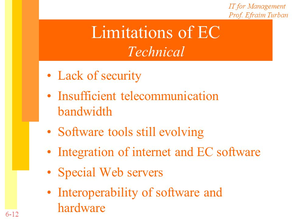 IT for Management Prof. Efraim Turban 6-12 Limitations of EC Technical Lack of security Insufficient telecommunication bandwidth Software tools still