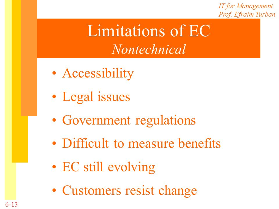 IT for Management Prof. Efraim Turban 6-13 Limitations of EC Nontechnical Accessibility Legal issues Government regulations Difficult to measure benef