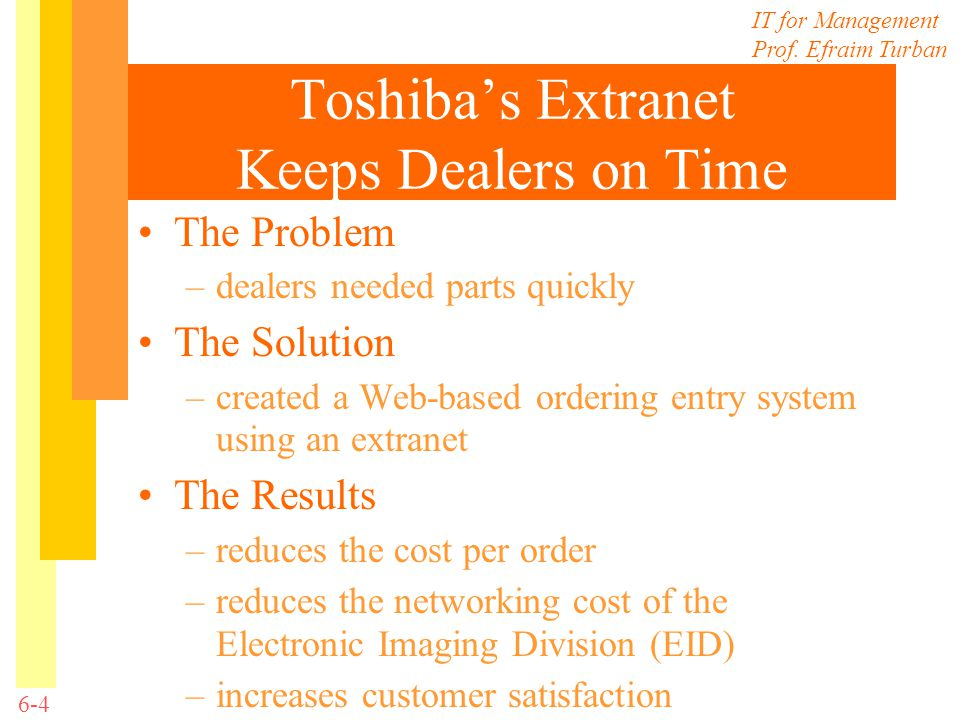 IT for Management Prof. Efraim Turban 6-4 Toshibas Extranet Keeps Dealers on Time The Problem –dealers needed parts quickly The Solution –created a We