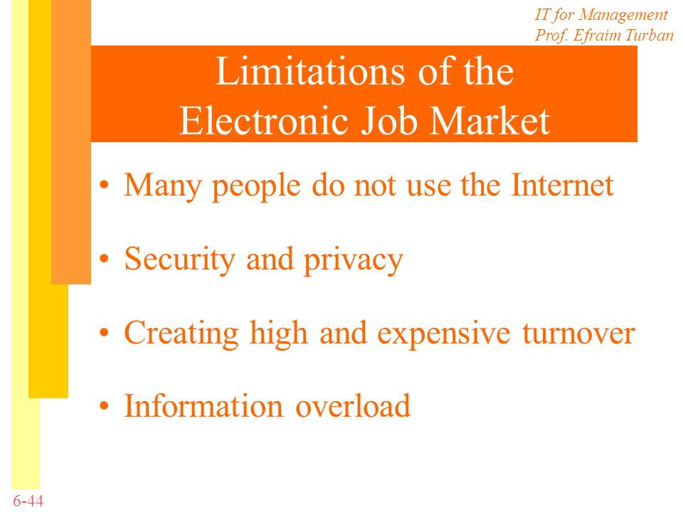 IT for Management Prof. Efraim Turban 6-44 Limitations of the Electronic Job Market Many people do not use the Internet Security and privacy Creating