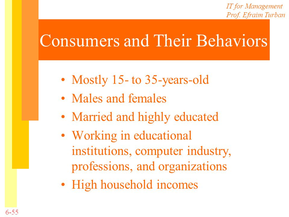IT for Management Prof. Efraim Turban 6-55 Consumers and Their Behaviors Mostly 15- to 35-years-old Males and females Married and highly educated Work