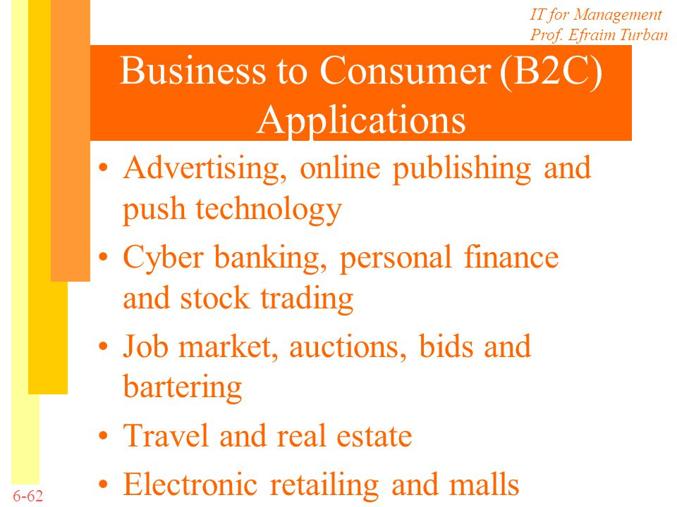 IT for Management Prof. Efraim Turban 6-62 Business to Consumer (B2C) Applications Advertising, online publishing and push technology Cyber banking, p
