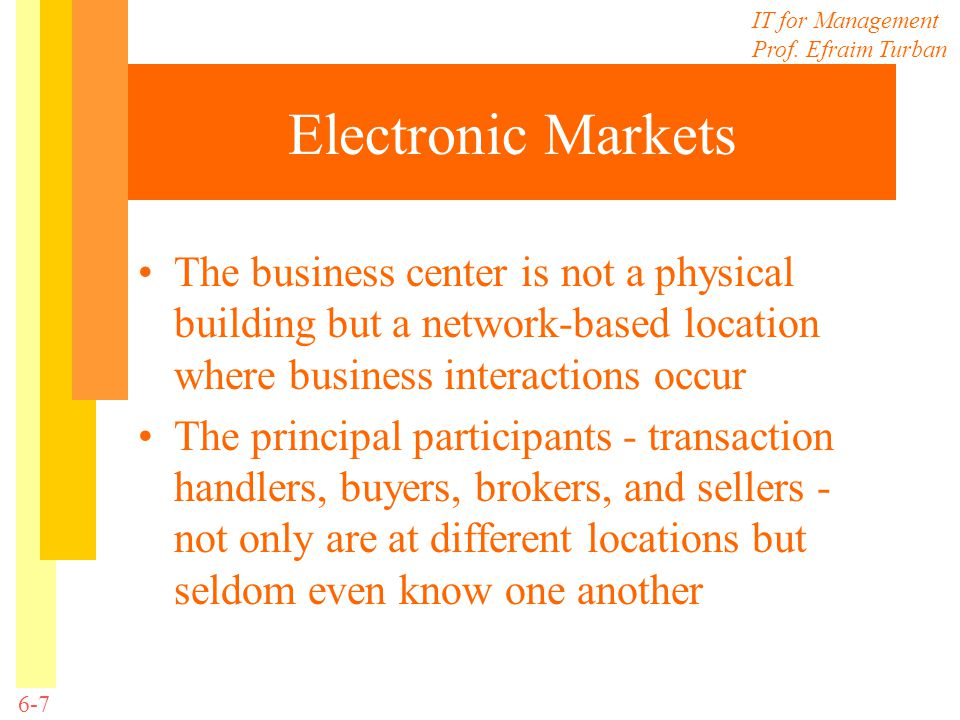 IT for Management Prof. Efraim Turban 6-7 Electronic Markets The business center is not a physical building but a network-based location where busines