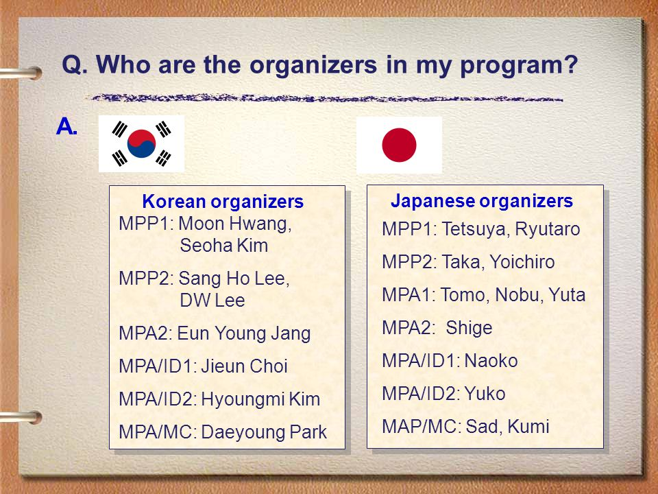 Q. Who are the organizers in my program? A. Korean organizers Japanese organizers MPP1: Tetsuya, Ryutaro MPP2: Taka, Yoichiro MPA1: Tomo, Nobu, Yuta M