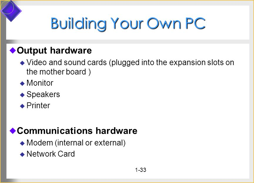 1-33 Building Your Own PC Output hardware Video and sound cards (plugged into the expansion slots on the mother board ) Monitor Speakers Printer Communications hardware Modem (internal or external) Network Card