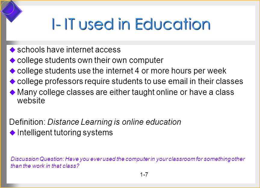 1-7 I- IT used in Education schools have internet access college students own their own computer college students use the internet 4 or more hours per week college professors require students to use  in their classes Many college classes are either taught online or have a class website Definition: Distance Learning is online education Intelligent tutoring systems Discussion Question: Have you ever used the computer in your classroom for something other than the work in that class