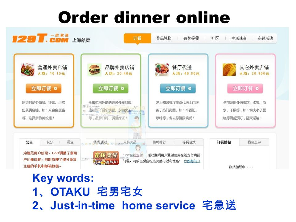 Order dinner online Key words: 1 OTAKU 2 Just-in-time home service