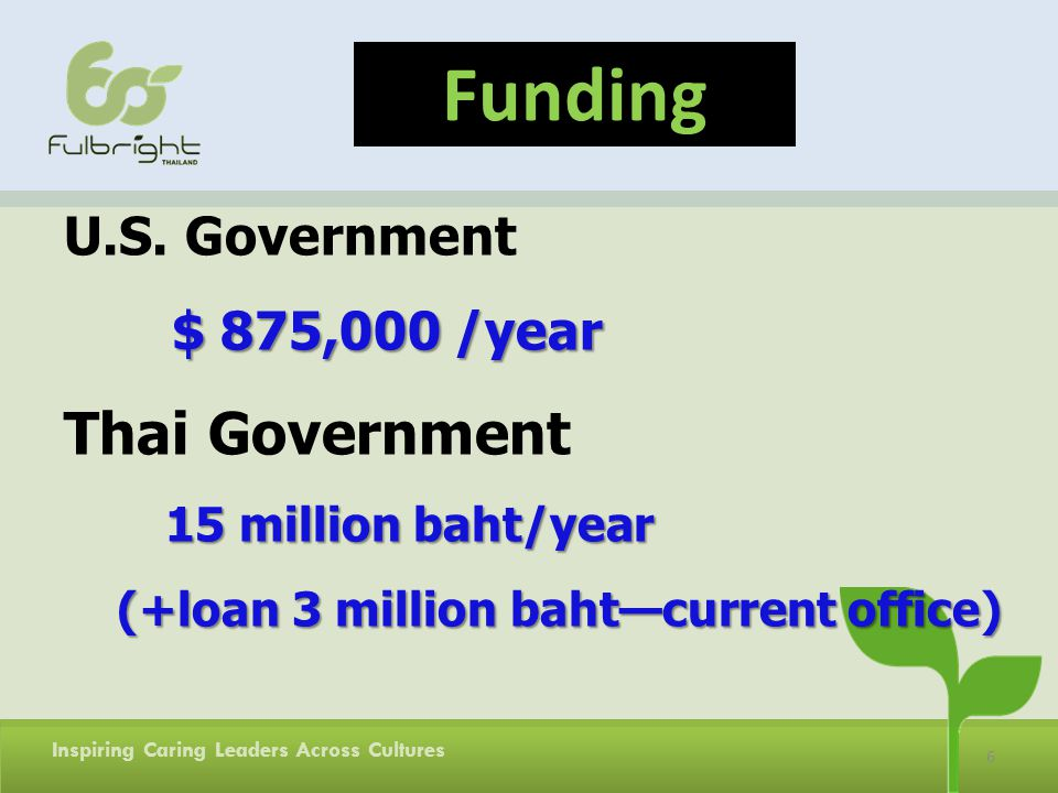 6 U.S. Government $ 875,000 /year Thai Government 15 million baht/year (+loan 3 million bahtcurrent office) Funding