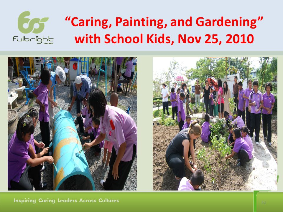 62 Inspiring Caring Leaders Across Cultures Caring, Painting, and Gardening with School Kids, Nov 25, 2010