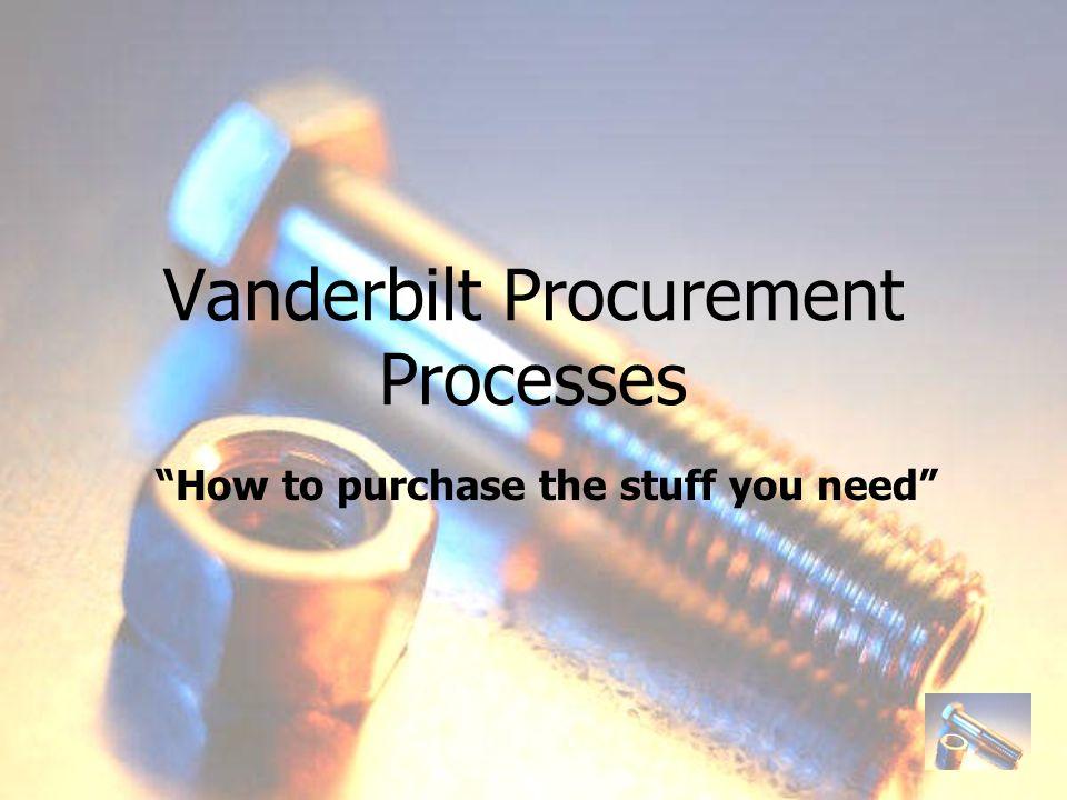 Introduction to Procurement Vanderbilt shops...What do we buy.