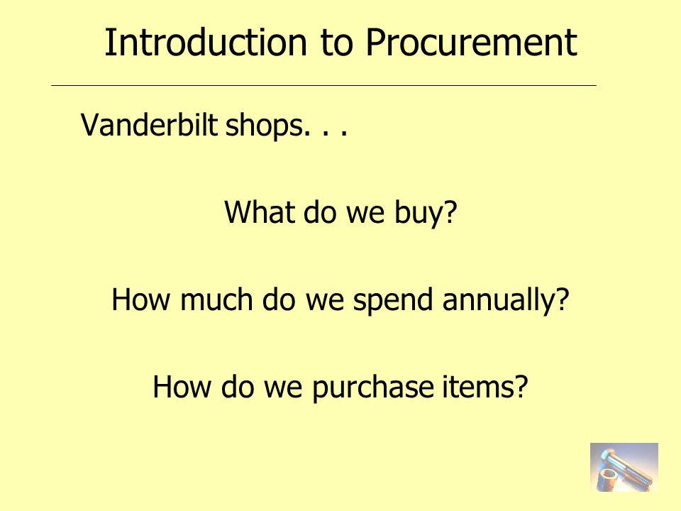 Introduction to Procurement Vanderbilt shops... What do we buy.