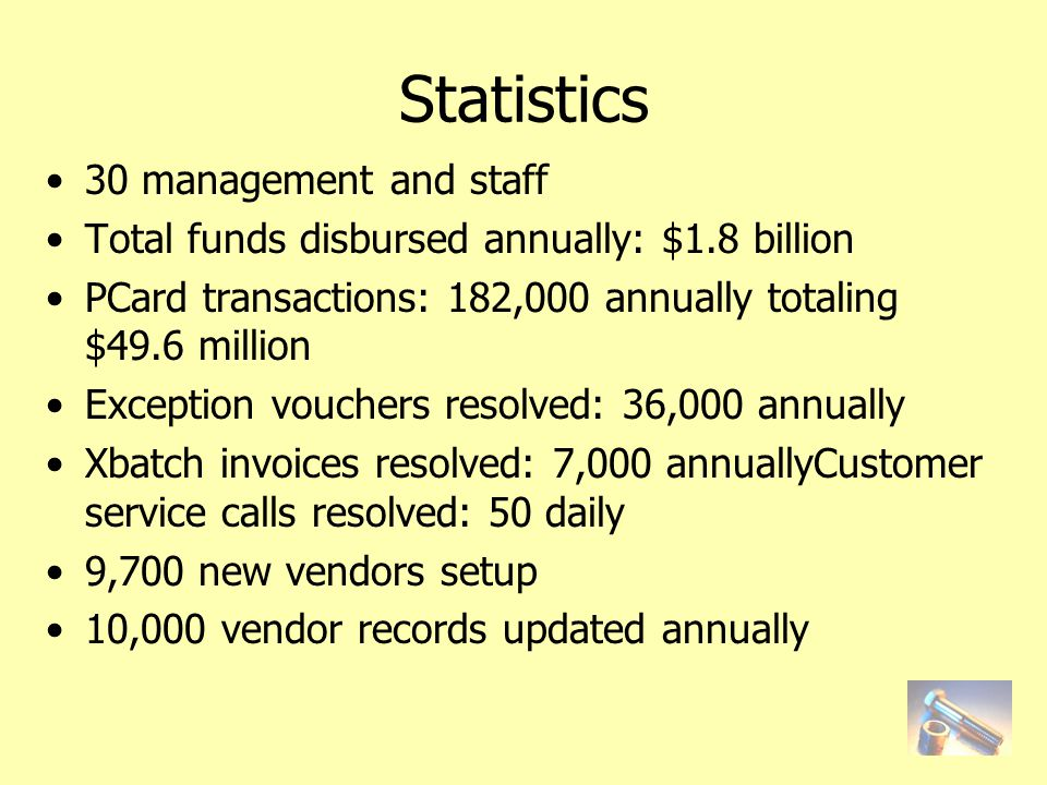 Statistics 30 management and staff Total funds disbursed annually: $1.8 billion PCard transactions: 182,000 annually totaling $49.6 million Exception vouchers resolved: 36,000 annually Xbatch invoices resolved: 7,000 annuallyCustomer service calls resolved: 50 daily 9,700 new vendors setup 10,000 vendor records updated annually