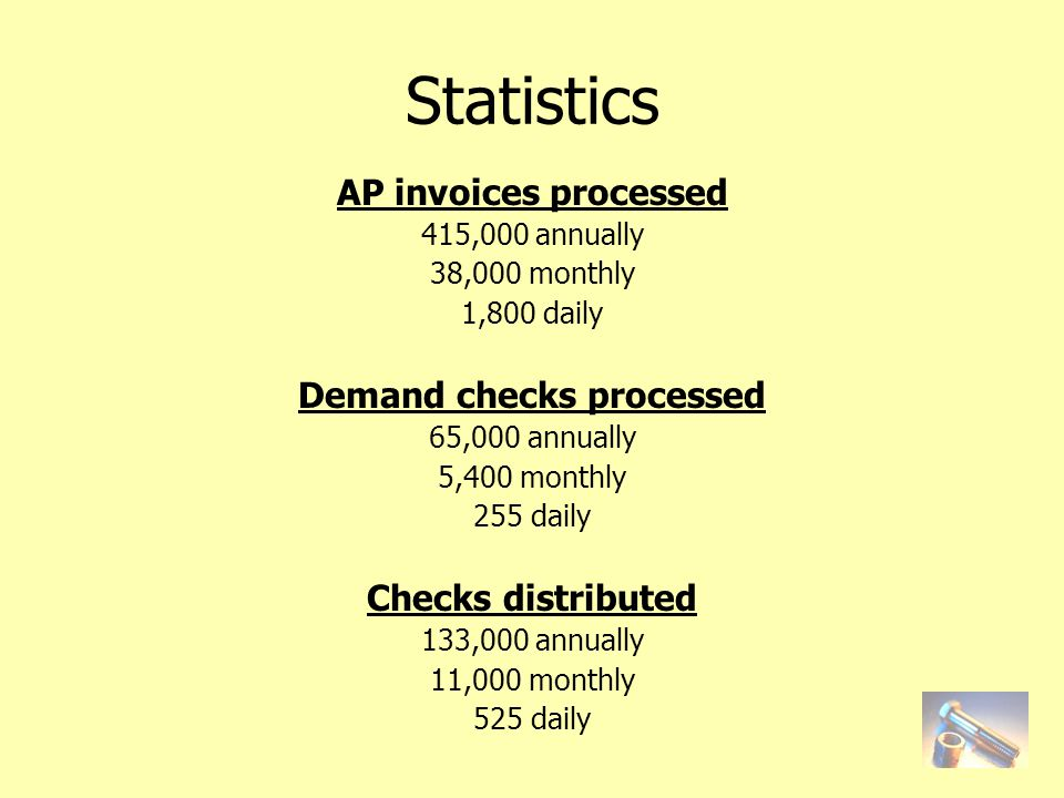 AP invoices processed 415,000 annually 38,000 monthly 1,800 daily Demand checks processed 65,000 annually 5,400 monthly 255 daily Checks distributed 133,000 annually 11,000 monthly 525 daily Statistics