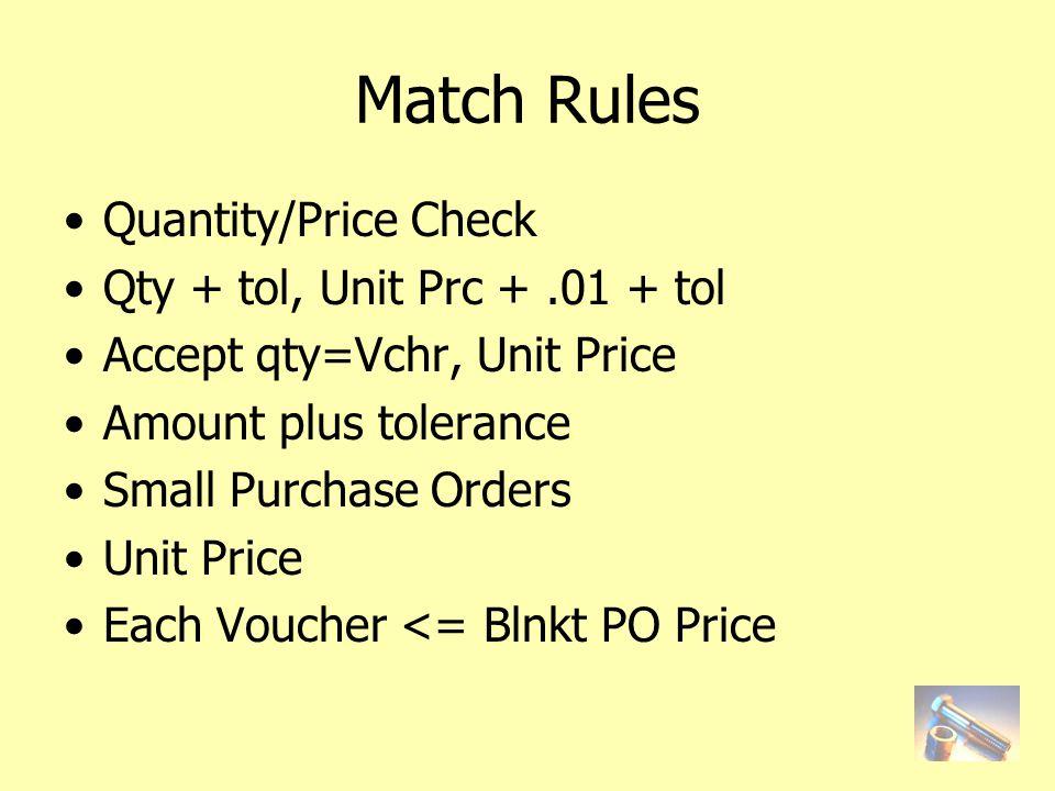 Match Rules Quantity/Price Check Qty + tol, Unit Prc +.01 + tol Accept qty=Vchr, Unit Price Amount plus tolerance Small Purchase Orders Unit Price Each Voucher <= Blnkt PO Price