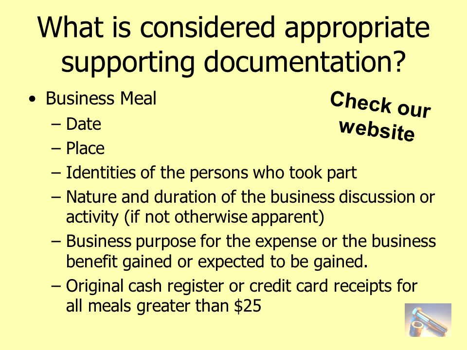 What is considered appropriate supporting documentation.