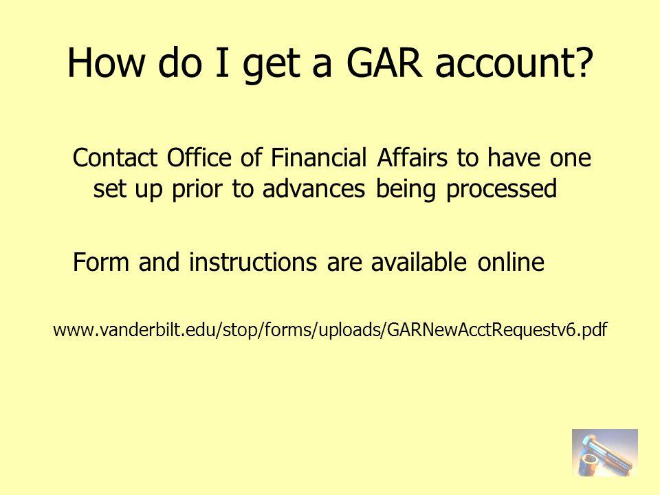 How do I get a GAR account.