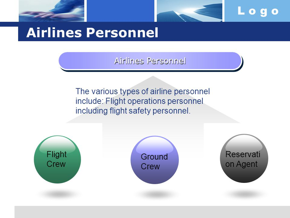 L o g o Airlines Personnel The various types of airline personnel include: Flight operations personnel including flight safety personnel.