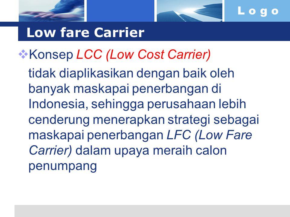 L o g o Low fare Carrier Konsep LCC (Low Cost Carrier) tidak diaplikasikan dengan baik oleh banyak maskapai penerbangan di Indonesia, sehingga perusahaan lebih cenderung menerapkan strategi sebagai maskapai penerbangan LFC (Low Fare Carrier) dalam upaya meraih calon penumpang