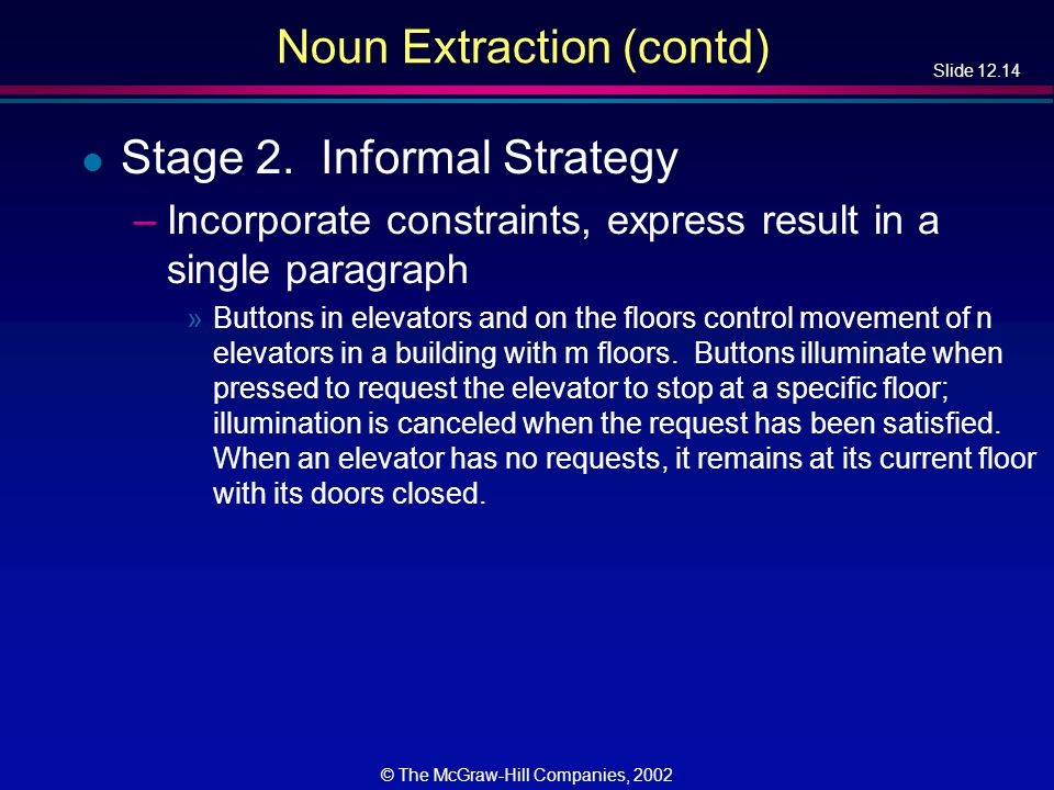 Slide 12.14 © The McGraw-Hill Companies, 2002 Noun Extraction (contd) l Stage 2.