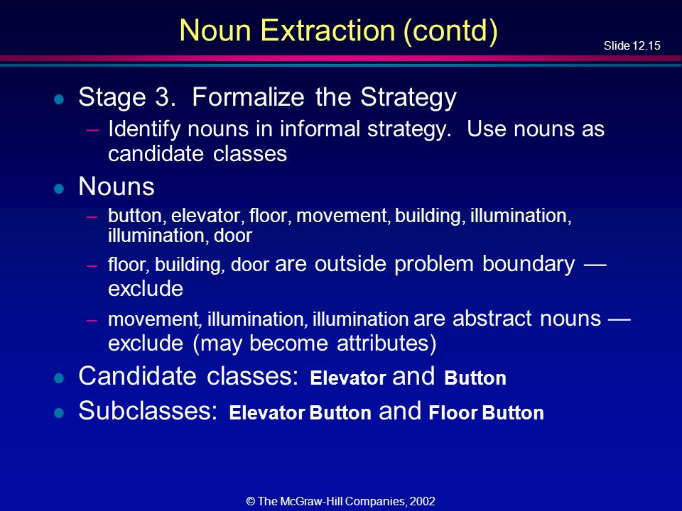 Slide 12.15 © The McGraw-Hill Companies, 2002 Noun Extraction (contd) l Stage 3.