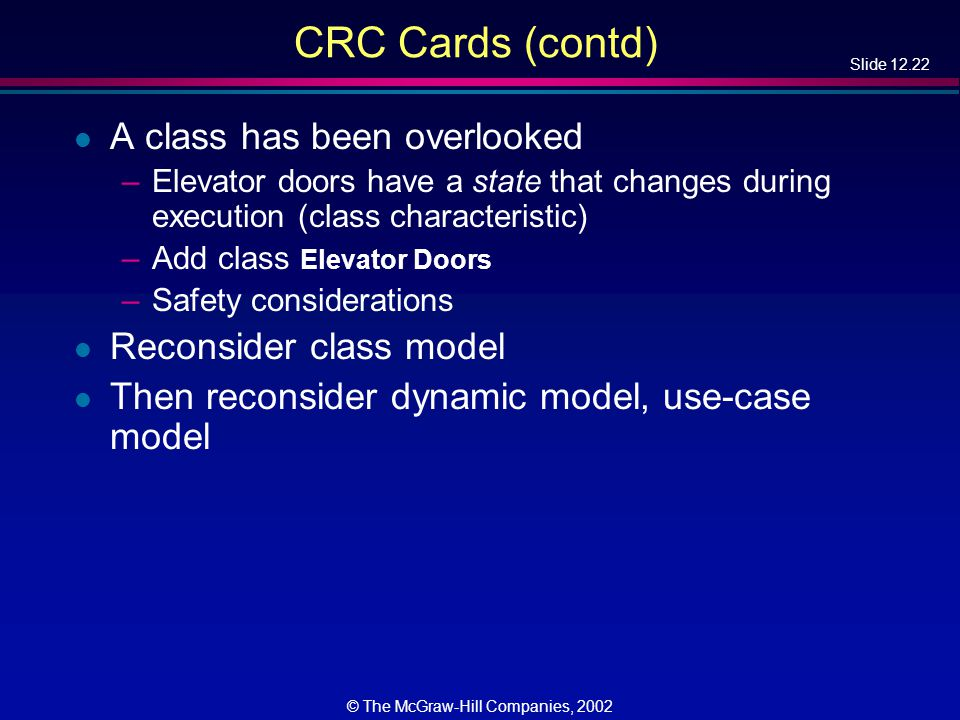 Slide 12.22 © The McGraw-Hill Companies, 2002 CRC Cards (contd) l A class has been overlooked –Elevator doors have a state that changes during execution (class characteristic) –Add class Elevator Doors –Safety considerations l Reconsider class model l Then reconsider dynamic model, use-case model