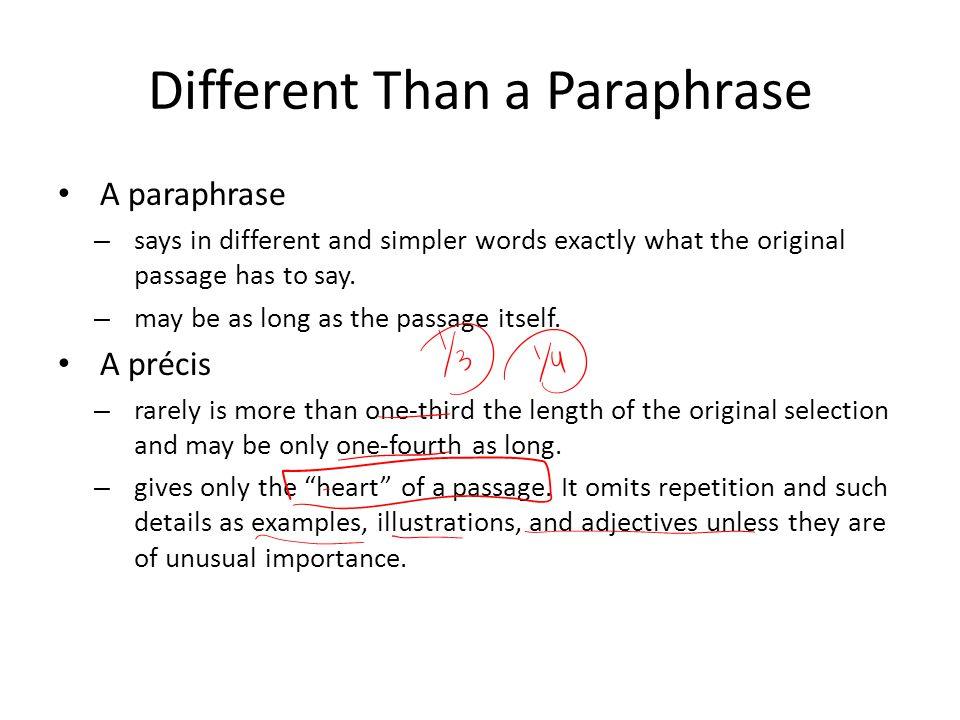 How is a précis written.
