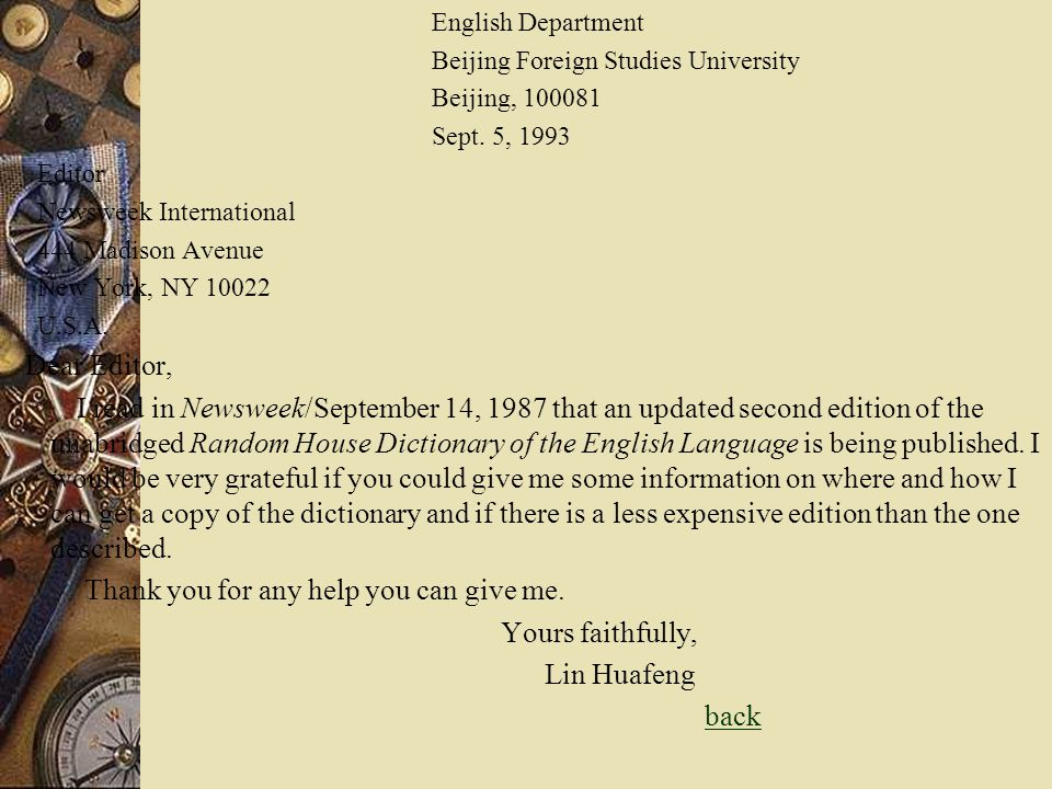 English Department Beijing Foreign Studies University Beijing, 100081 Sept. 5, 1993 Editor Newsweek International 444 Madison Avenue New York, NY 1002