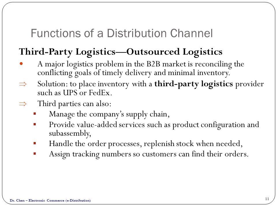 Dr. Chen – Electronic Commerce (e-Distribution) 11 Functions of a Distribution Channel Third-Party LogisticsOutsourced Logistics A major logistics pro