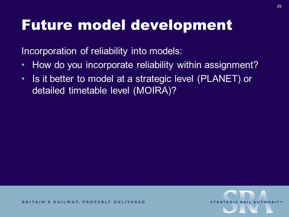 25 Future model development Incorporation of reliability into models: How do you incorporate reliability within assignment.