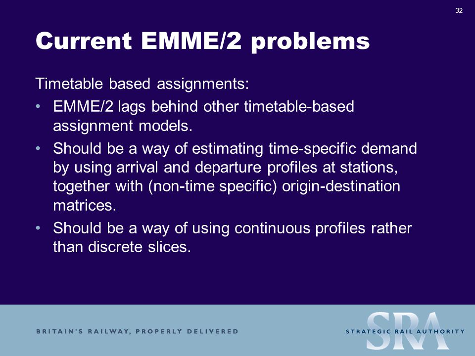 32 Current EMME/2 problems Timetable based assignments: EMME/2 lags behind other timetable-based assignment models.