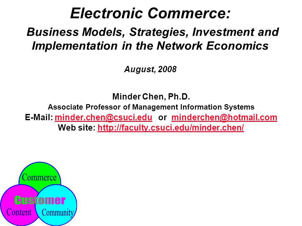 EC(I) - 72 © Minder Chen, 1996-2008 Opening Online Business Identify a need and a niche Determine what you have to offer Set your business goals Design your EC architecture Assemble your EC teams Build your web site Set up a system to handle sales Provide customer services Advertise your online business (online and offline) Evaluate your performance and moving on