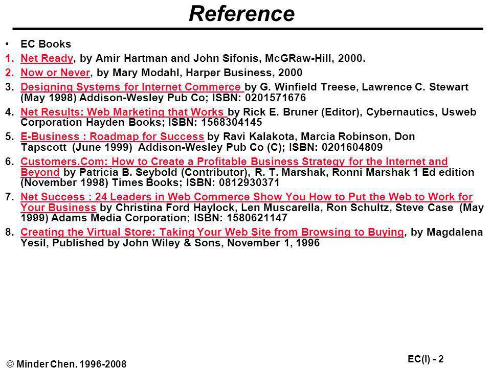 EC(I) - 113 © Minder Chen, 1996-2008 Extended E-conomy Business Models E-buisness storefront Informediary –Seller broker –Buyer broker –Transaction broker / Exchange –COINs –Portals Trust intermediary E-business enabler Infrastructure providers / Communities of commerce Source: Net Ready, 2000