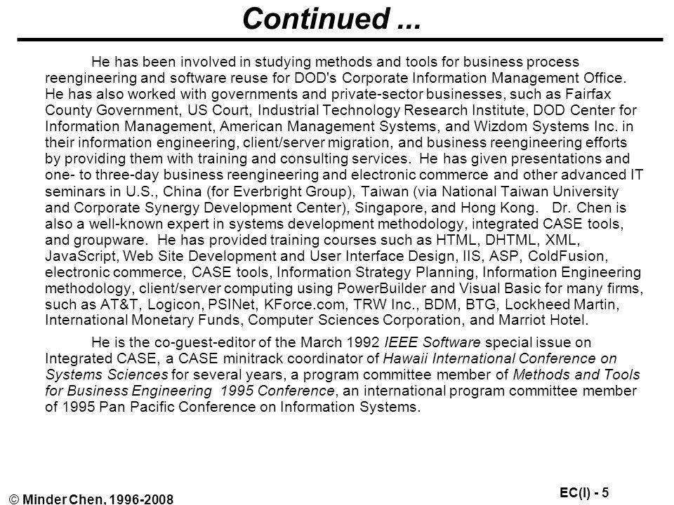 EC(I) - 136 © Minder Chen, 1996-2008 What are the new economics.