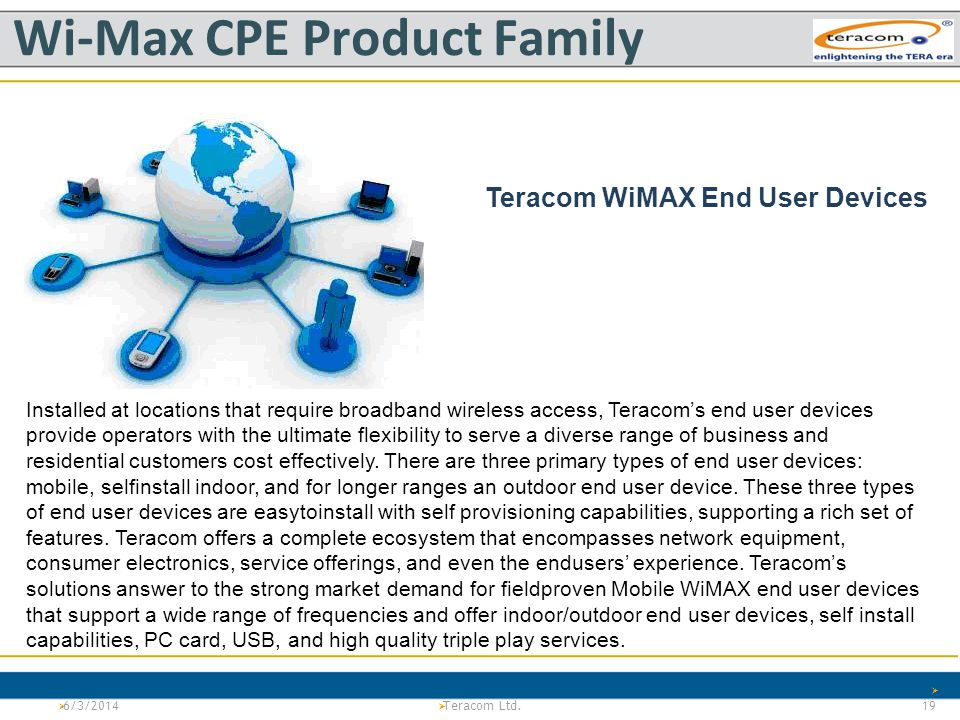 Version 1.0Project Tiger Teracom LTd. PS Wi-Max CPE Product Family 6/3/2014 19 Teracom Ltd. Teracom WiMAX End User Devices Installed at locations that
