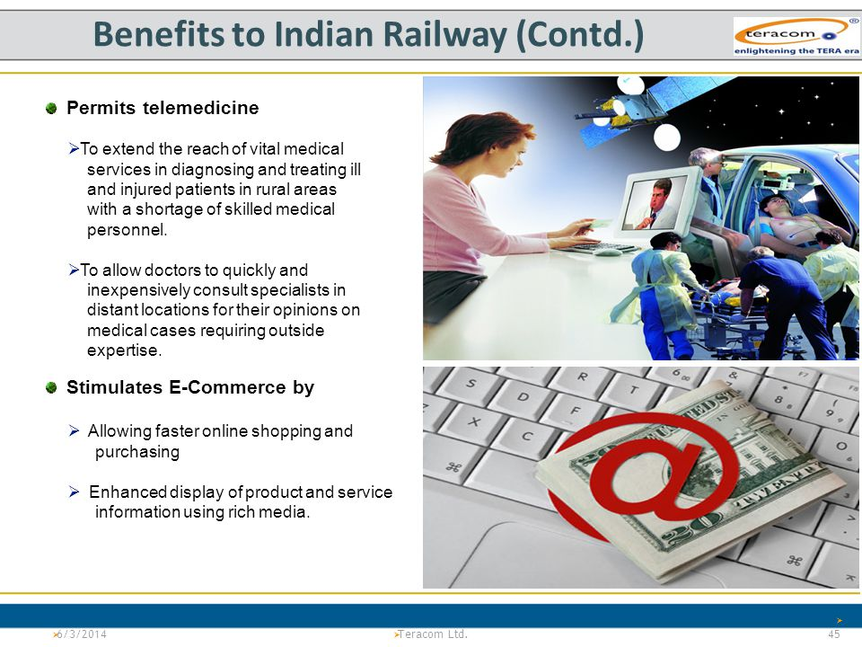 Version 1.0Project Tiger Teracom LTd. PS 6/3/2014 45 Teracom Ltd. Benefits to Indian Railway (Contd.) Permits telemedicine To extend the reach of vita