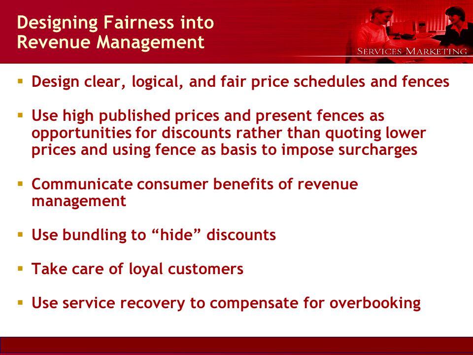 Slide © 2007 by Christopher Lovelock and Jochen Wirtz Services Marketing 6/E Chapter 5 - 28 Designing Fairness into Revenue Management Design clear, l